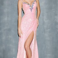 Floor Length Spaghetti Strap Sequin Dress
