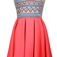 Sweetheart Tribal Print Dress
