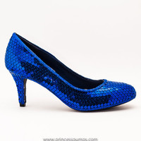 Royal Blue Sequin 3 Inch High Heels Pumps by Princess Pumps