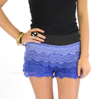 Farrah & Free Royal Blue Ombré Crochet Ruffle Shorts