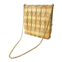 1960s Gold Metal Filigree Panels Coral,Turquoise Beads & Rhinestone Hinged Evening Handbag
