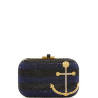 Judith Leiber Couture Anchors Away Slide-Lock Crystal Clutch Bag