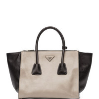 Bicolor Glace Calf Twin Pocket Tote Bag, Gray/Black