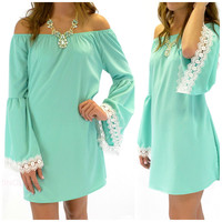 Brookhaven Mint Open Shoulder Crochet Dress