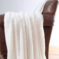 Serengeti Faux Fur Throw - Bright White