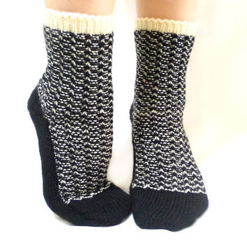 Valentines Day Sale, Knitted Socks, Christmas Socks, Handmade Socks, Black, White, Cream, Stripes, Handmade Traditional, Long Slippers