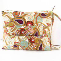 Large Purse / Shoulder Bag / Crossbody Bag / Zipper Closure / Silk Road Paisley / Wilmington Prints / Ready to Ship