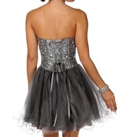 Kendell- Silver Short Prom Dress