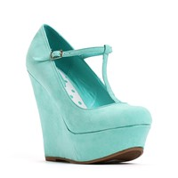Mint Mary Jane T-Strap Wedges