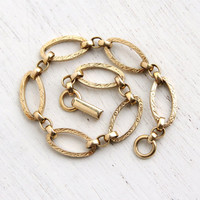 Vintage 12k Yellow Gold Filled Bracelet - 1940s Art Deco Oval Link Embossed Flower Jewelry