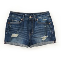 High-Rise Medium Wash Destroyed Denim Shorty Shorts
