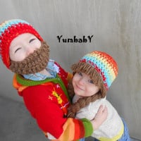 2 hats Multicolor Bearded Beanie and Pigtail Beanie Hats for Twins Photo Props Colorful