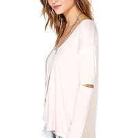Nasty Gal Slashed Tee - Blush
