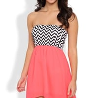 High Low Dress with a Chevron Bodice