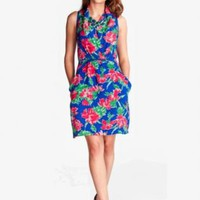 Blue Shift Dress w/ Red Rose Floral Print