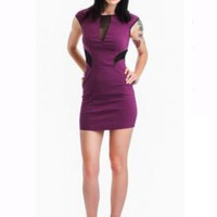 Purple Bodycon Dress w/ Short Sleeves & Black Mesh Cutouts