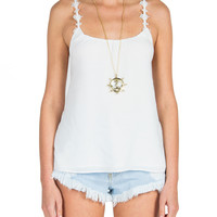 Daisy Cross Back Tank - White