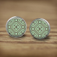 Geometric Stud Earrings, Aztec Earrings, Retro Pattern Earrings