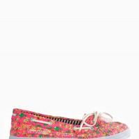 SEQUIN FLORAL BOAT SHOES