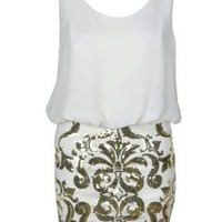 White Party Dress with Gold Sequin Design