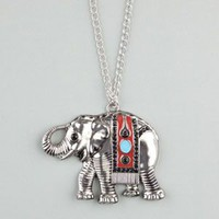 FULL TILT Ethnic Elephant Pendant Necklace