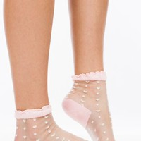 Heart And Polka Dot Sheer Mesh Socks