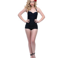 Unique Vintage Black Ruched Mansfield Halter One Piece Swimsuit
