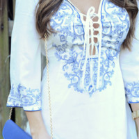 From This Moment On Dress: White/Blue | Hope's