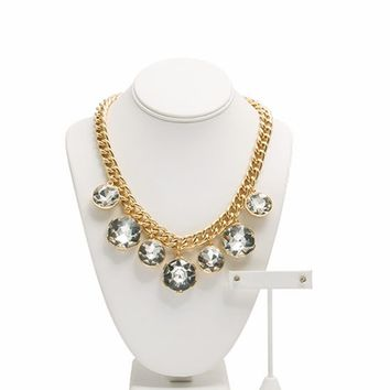 Oversized Faux Jewel Necklace Set