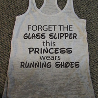 Forget The Glass Slipper This Princess Wears Running Shoes Womens Running Motivational Workout 'Ombre' Tank Top S M L by WorkItWear
