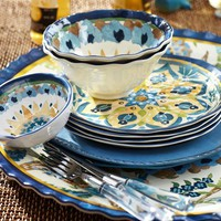 Cabo Melamine Dinnerware, Set of 4 - Blue