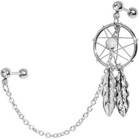 16 Gauge Clear Gem Inspire Dreamcatcher Cartilage Tragus Barbell Chain Earring | Body Candy Body Jewelry