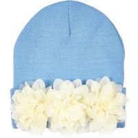 Light blue flower trim beanie hat - hats - accessories - women
