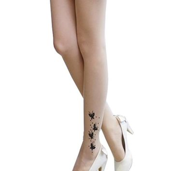 SACAS Sexy Butterfly Print Tattoo Sheer Tights one size XS ~ M