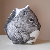squirrel soft toy woodland folk stuffed plush black and white squirrel with acorn mini pillow hand painted