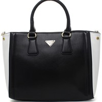 Contrast Two-Tone Tote Bag