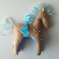 Fabric Horse Ornament. Selfstanding Felt Troy Horse with Mane and Tail from Turquoise Ribbon. Gift Wrapped.