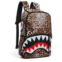 Leopard Print Shark PU Leather Backpack