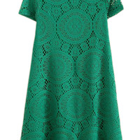 ROMWE Lace Short Sleeves Green Dress