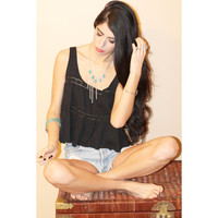 Black Crochet Inset Cropped Gypsy Coachella Festival Top.