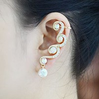Diamond Waves Rhinestone Ear Cuff (Single, 1 Piercing)
