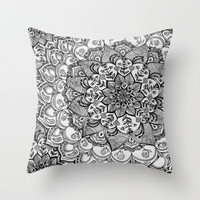 Shades of Grey - mono floral doodle Throw Pillow by micklyn