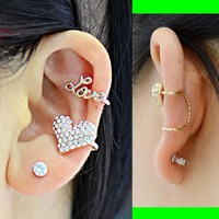 Love And Heart Curved Ear Cuff Asymmetric Set