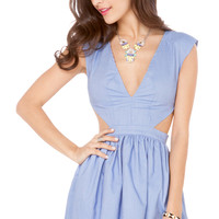Chambray Side Cutout Dress in Denim