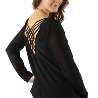 Black Crossback Blouse