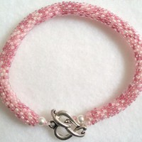 Pink Bead Crochet Bracelet | JRPDesigns - Jewelry on ArtFire