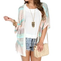 Mint/Multi-Color Striped Cardigan