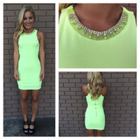 Neon Green Crystal Neckline Dress