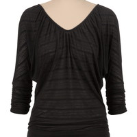 cinched sleeve striped v-neck top