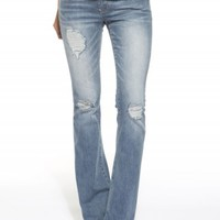 HINT BOOT DESTRUCTED SEQUIN JEANS
